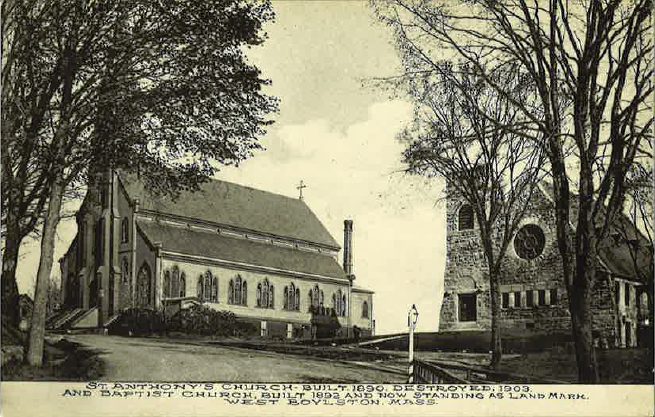 Postcard of St. Anthony's and the Old Stone Church