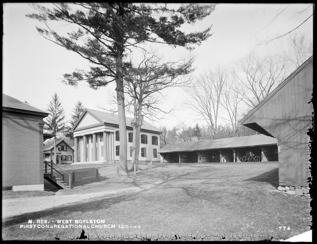 Photograph of the First Congregational Church (Old Brick Church), Thomas Hall and sheds
