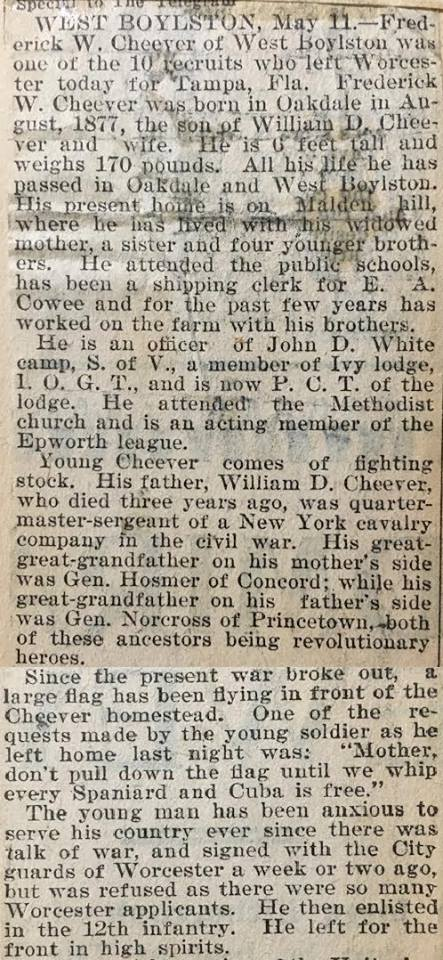 Newspaper article about Frederick Cheever