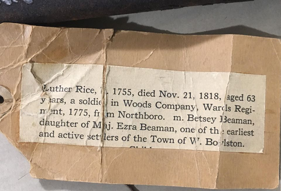 Information tag about Luther Rice's sword