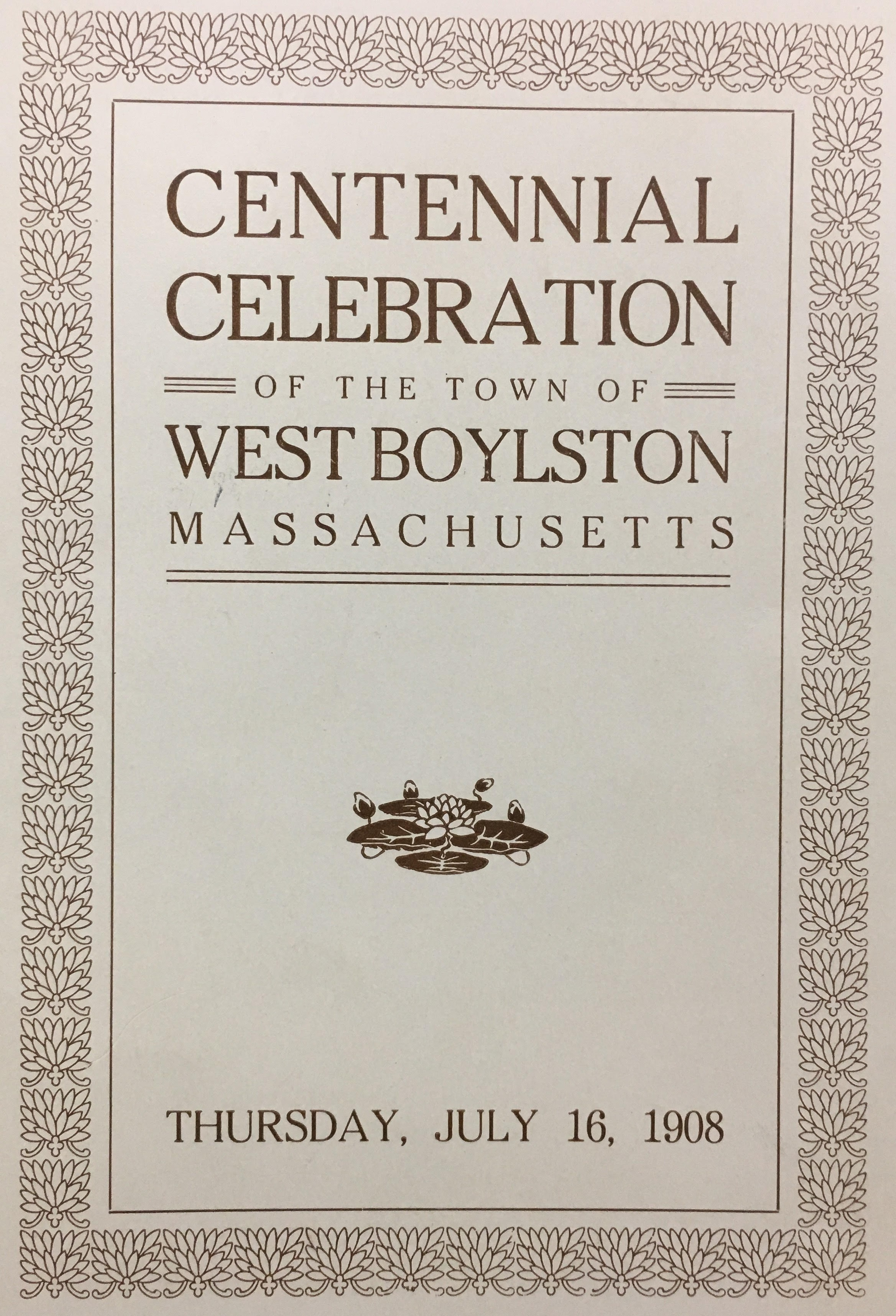Program for the Centennial Ceremony July 1908