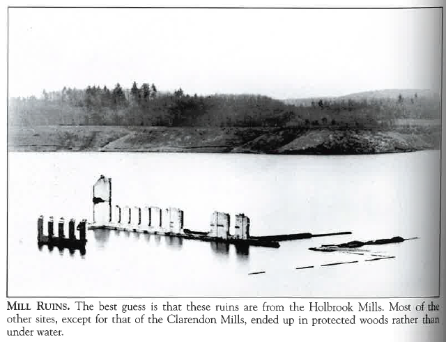 Photograph of mill ruins at the reservoir