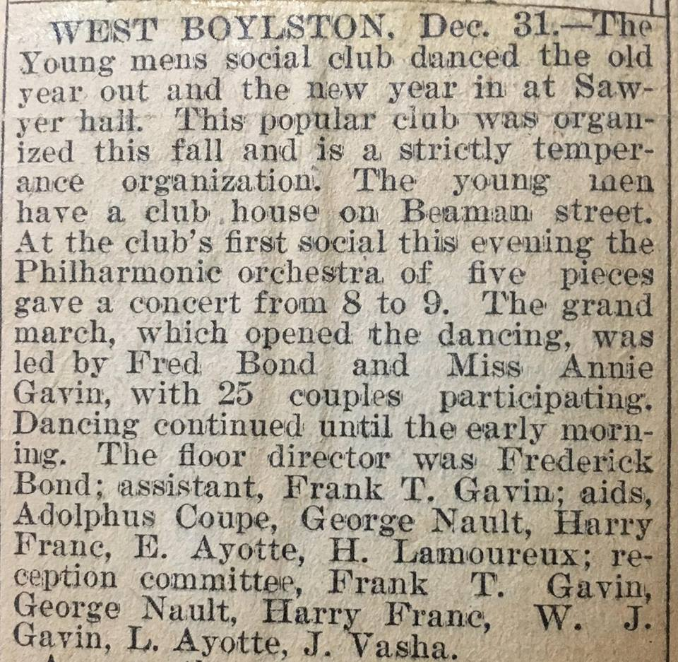 Newspaper clipping about New Years Noise