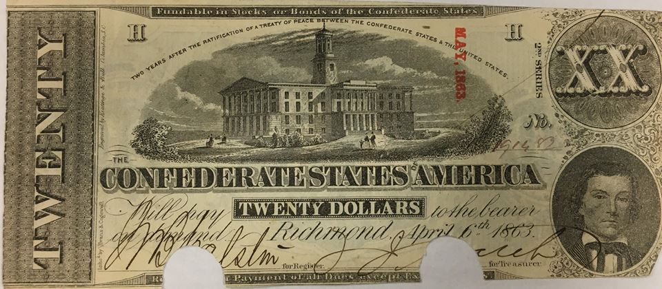 Currency, photograpg of civil war currency