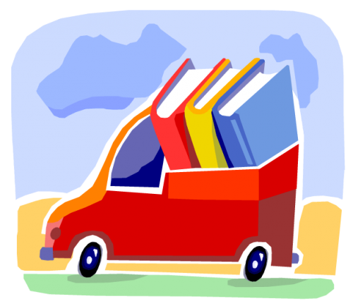 Image of a truck full of books