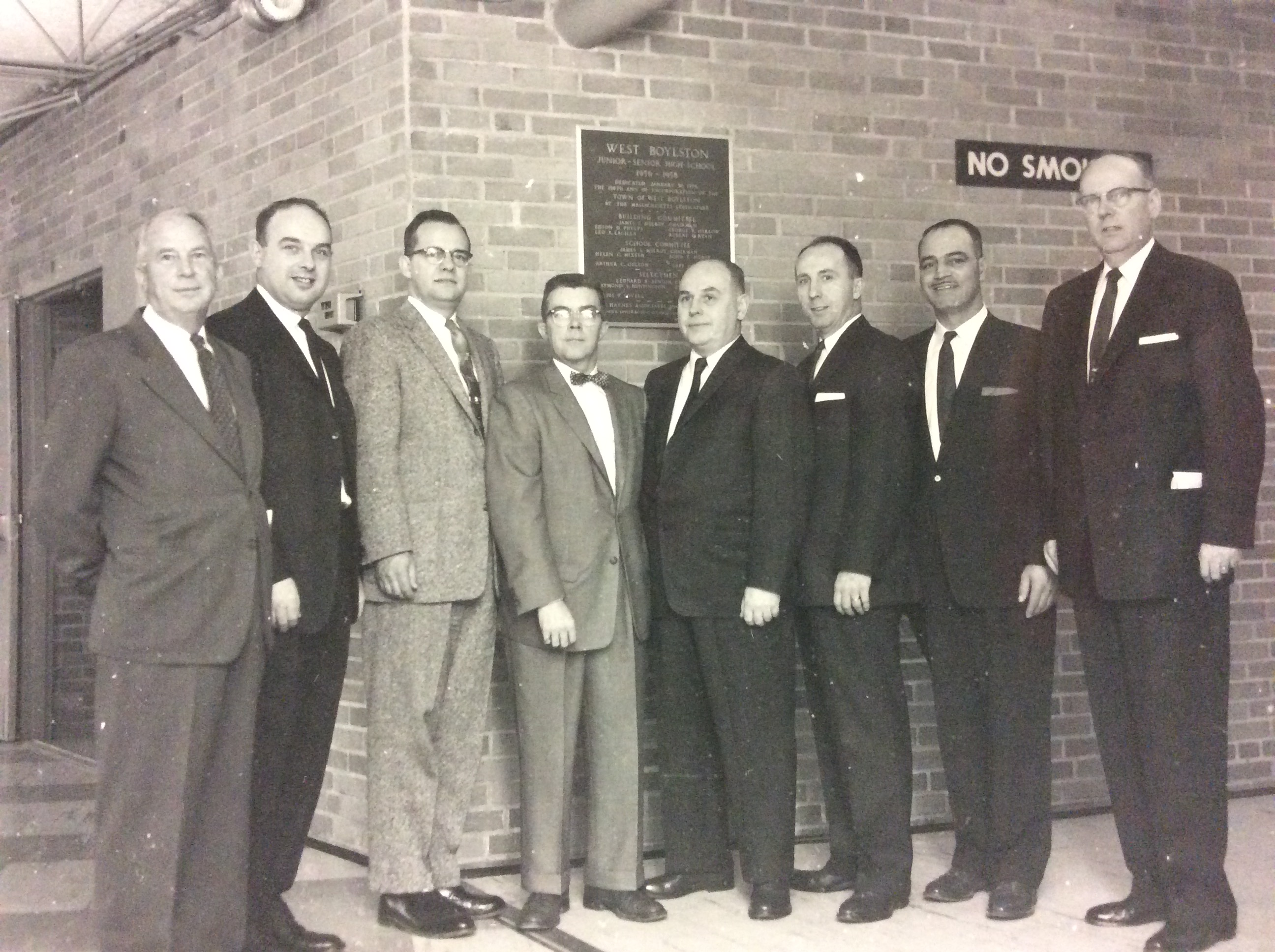 Photo of administrators at the dedication of the West Boylston High School