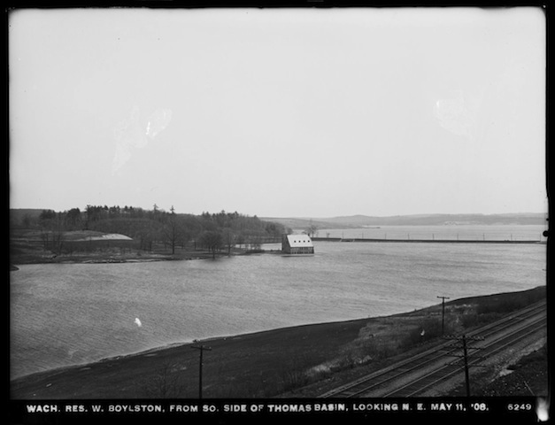Image of the south side of Thomas basin after filling the reservoir with water. May 11, 1908