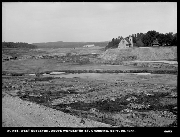 Image of the Old Stone church during the digging of the Wachusett Reservoir