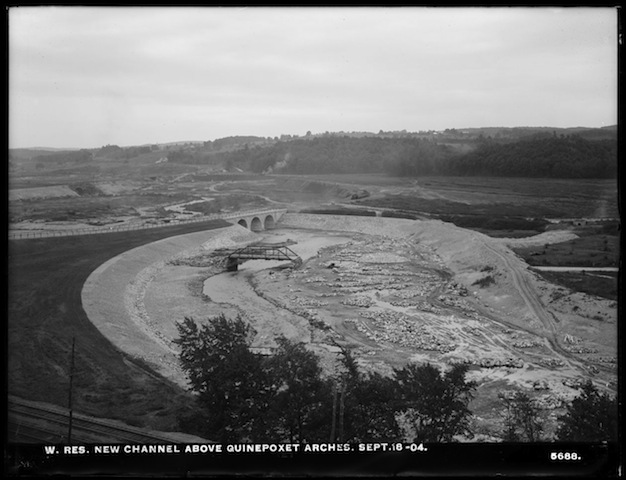 The new Quinapoxet River channel above the causeway. Sept. 18, 1904