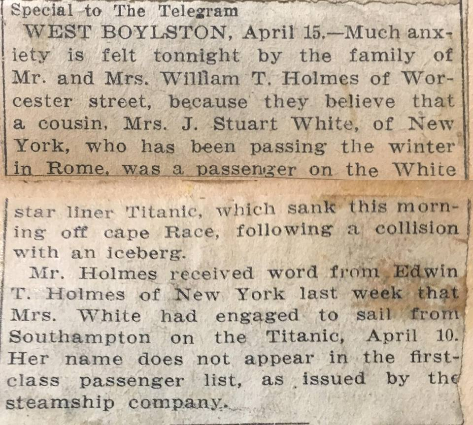 Titanic, news article (1)