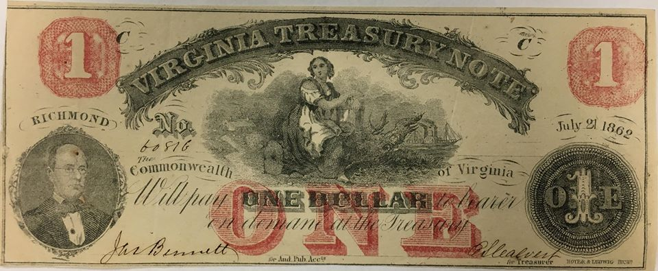 Image of a civil war one dollar bill