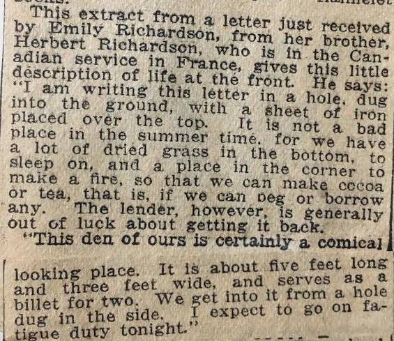Newspaper clipping about WWI