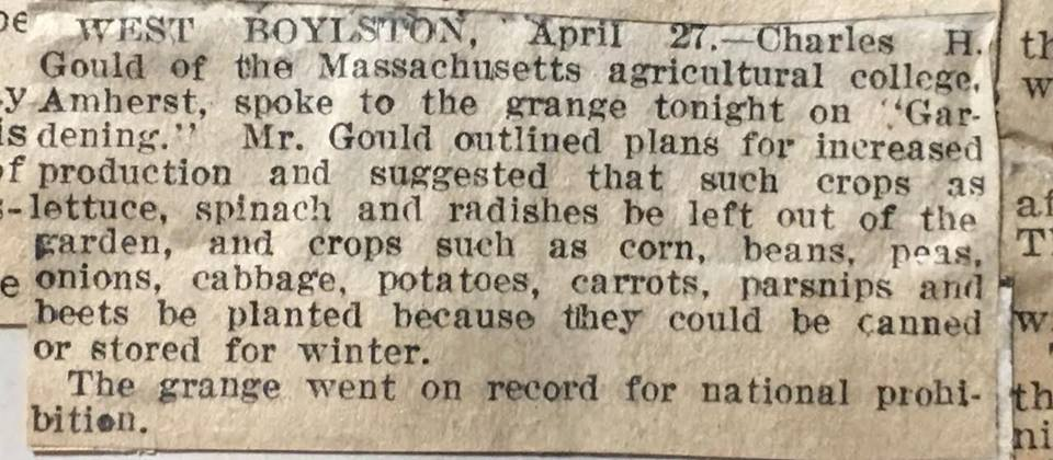 Newspaper article about wartime agriculture