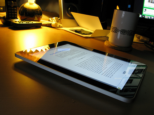 Photograph of an ereader on a desk